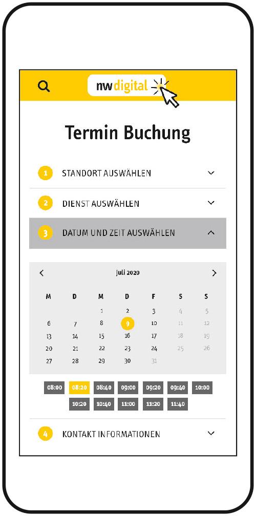 Screen online Terminbuchung
